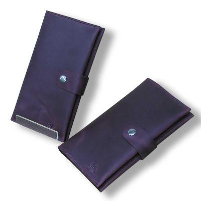 Женский кошелек ручной работы бордовый из кожи Crazy Horse hmw-03-04