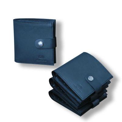 Мужской кошелёк Mini ручной работы из кожи Краст черный hmm-07-01.