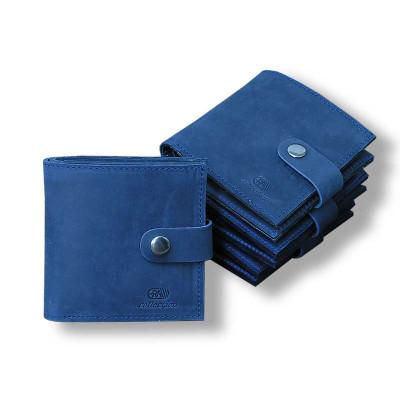 Мужской кошелёк Mini ручной работы из кожи Crazy Horse синий hmm-07-02.