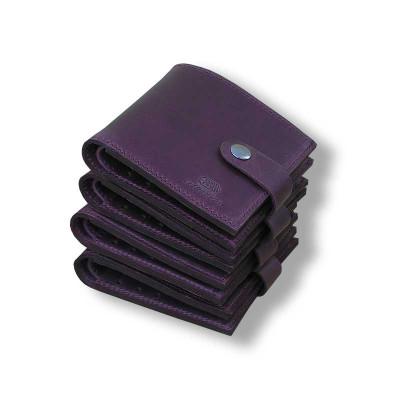 Женский кошелёк Mini ручной работы из кожи Crazy Horse бордовый hmw-07-04