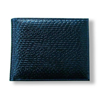 Мужской кошелёк с тиснением кожа синий pm-01-04.