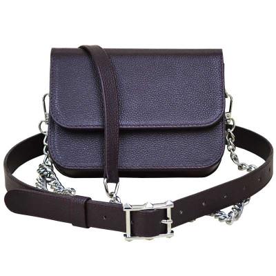 Женская сумка «ERA» на пояс из кожи бордового цвета sp-01-04.