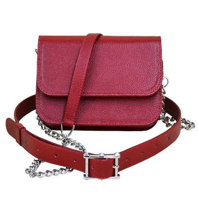 Женская сумка «ERA» на пояс из кожи красного цвета sp-01-03.